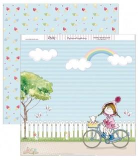 Imagén: Papel scrap niña bici 30,5 x 30,5 cm