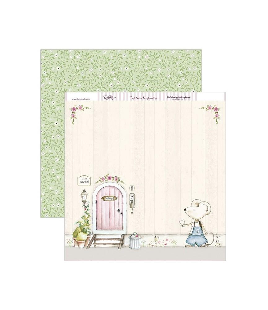 Papel scrap puerta Sr.Perez rosa 30,5 x 30,5 cm