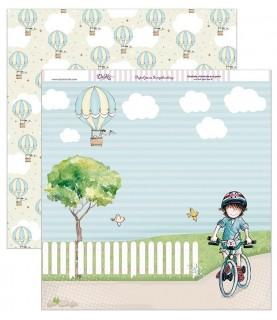 Imagén: Papel scrap niño bici 30,5 x 30,5 cm