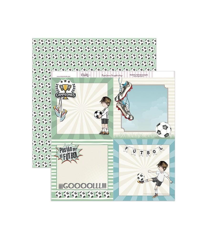 Papel scrap tarjetas futbol 30,5 x 30,5 cm