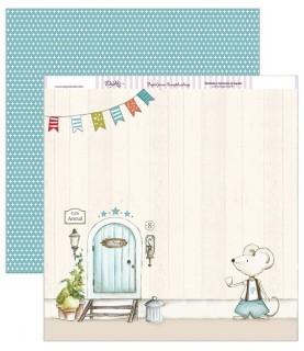 Papel scrap puerta Sr.Perez azul 30,5 x 30,5 cm
