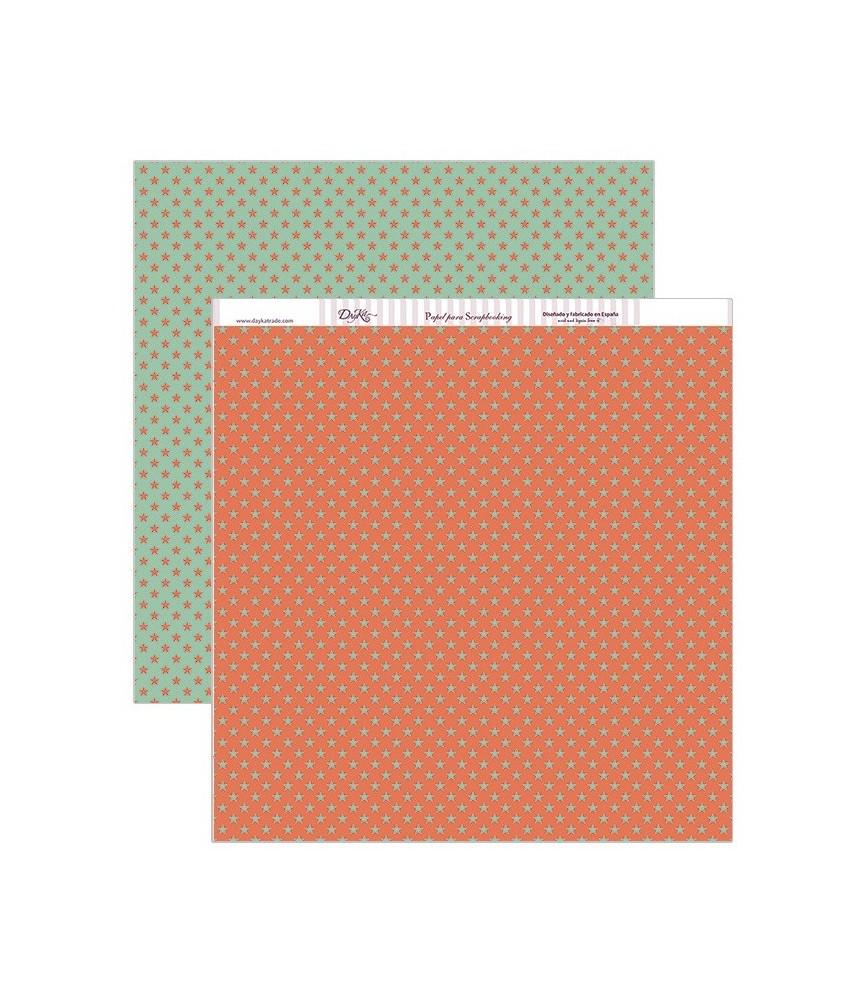 Papel scrap estrellas verdes y rojas 30,5 x 30,5 cm