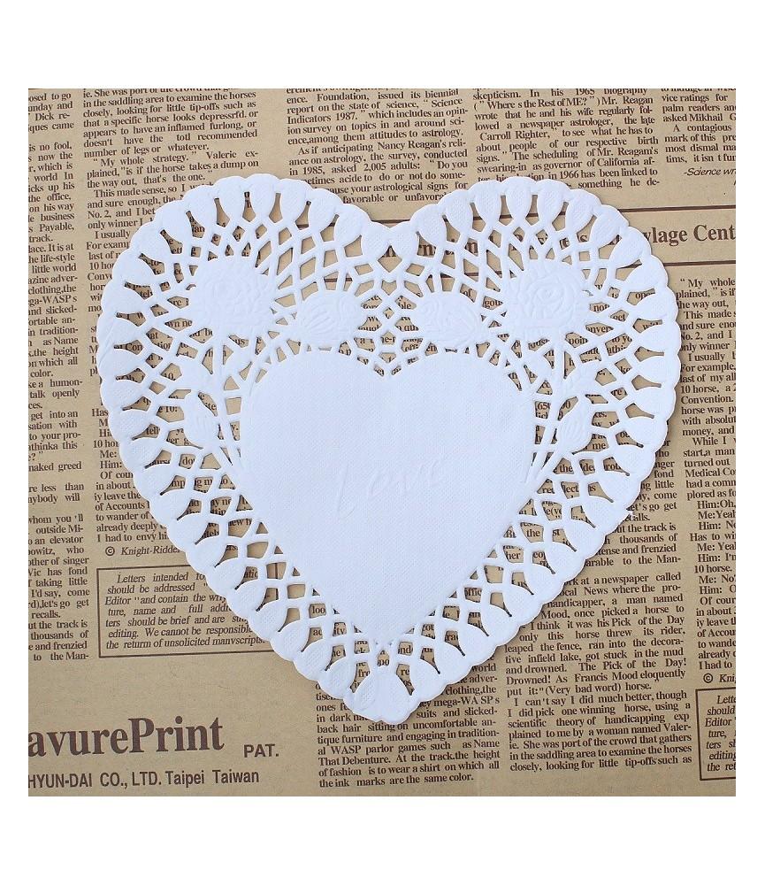 Pack de 25 blondas de corazón 15 cm