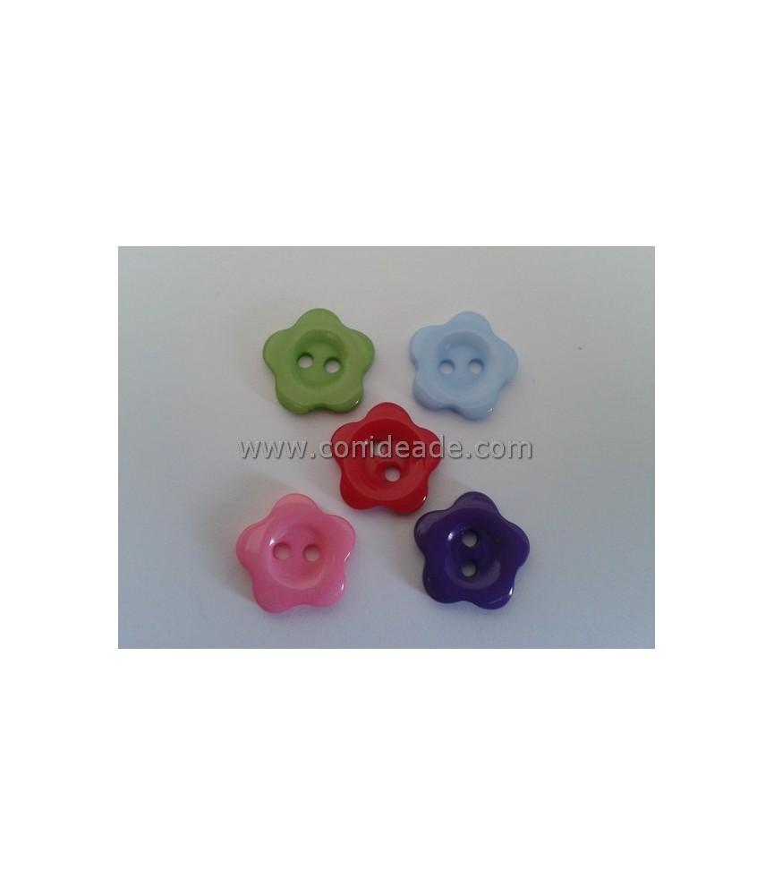 Pack 5 botones con forma de flor 14 mm