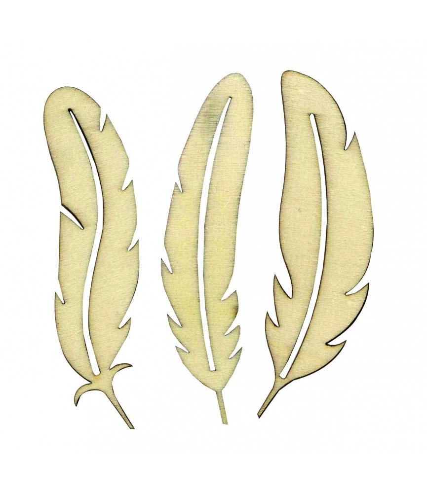 Pack 3 siluetas de plumas de madera