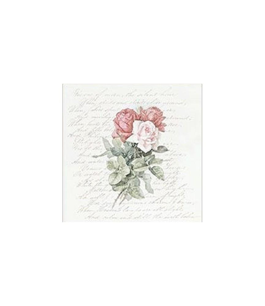Servilleta vintage Roses Love Poem
