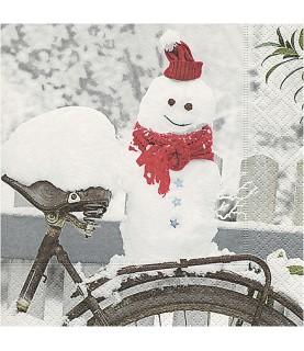 Servilleta muñeco de nieve 33x33 cm