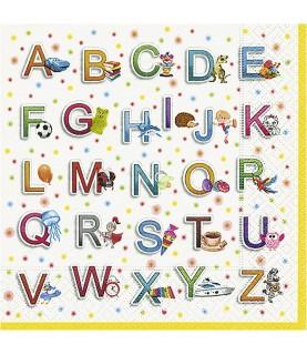 Servilleta abecedario infantil 33x33 cm