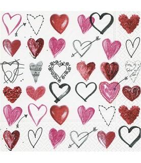 Servilleta corazones 33x33 cm