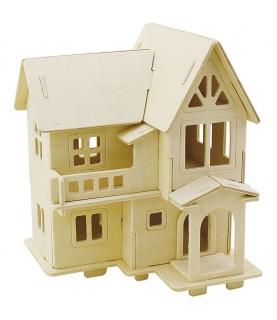 Puzzle de madera 3D casa con balcón portada