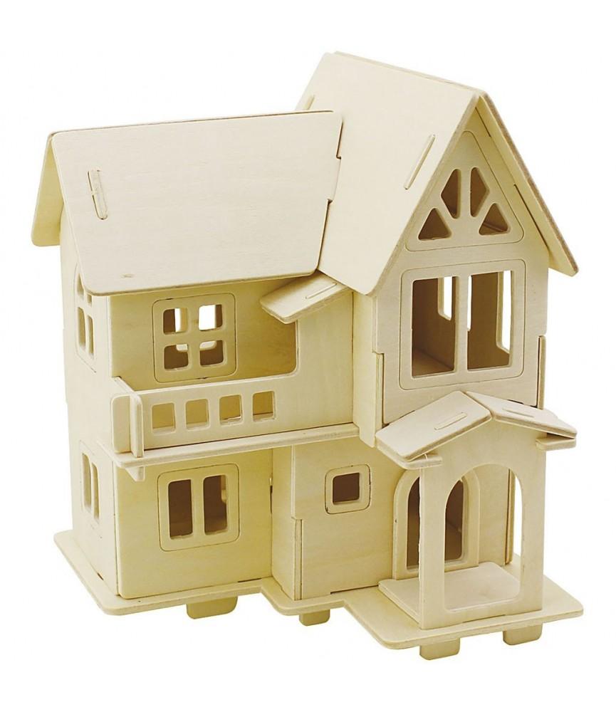 Puzzle de madera 3D casa con balcón