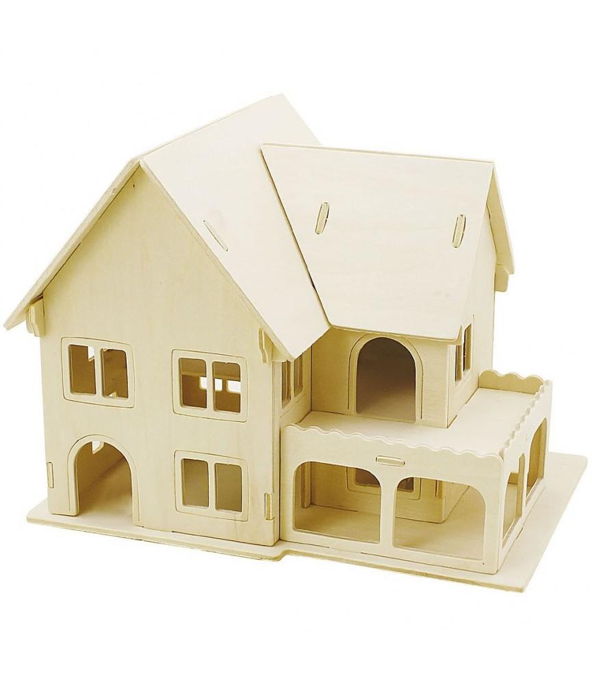 Puzzle de madera 3D casa con porche