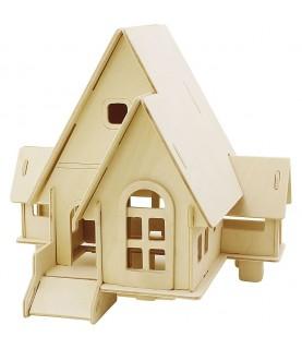 Puzzle de madera 3D casa con rampa portada