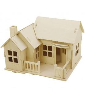 Puzzle de madera 3D casa con terraza portada