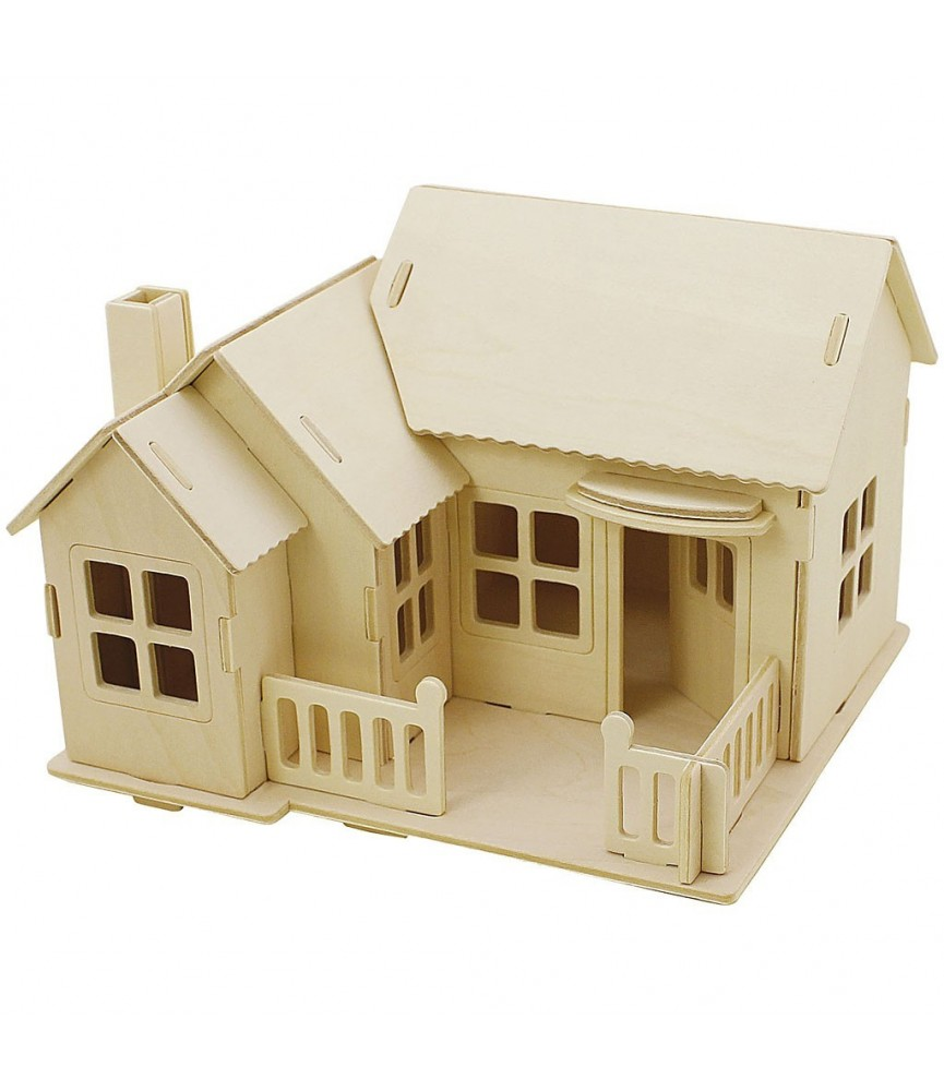 Puzzle de madera 3D casa con terraza