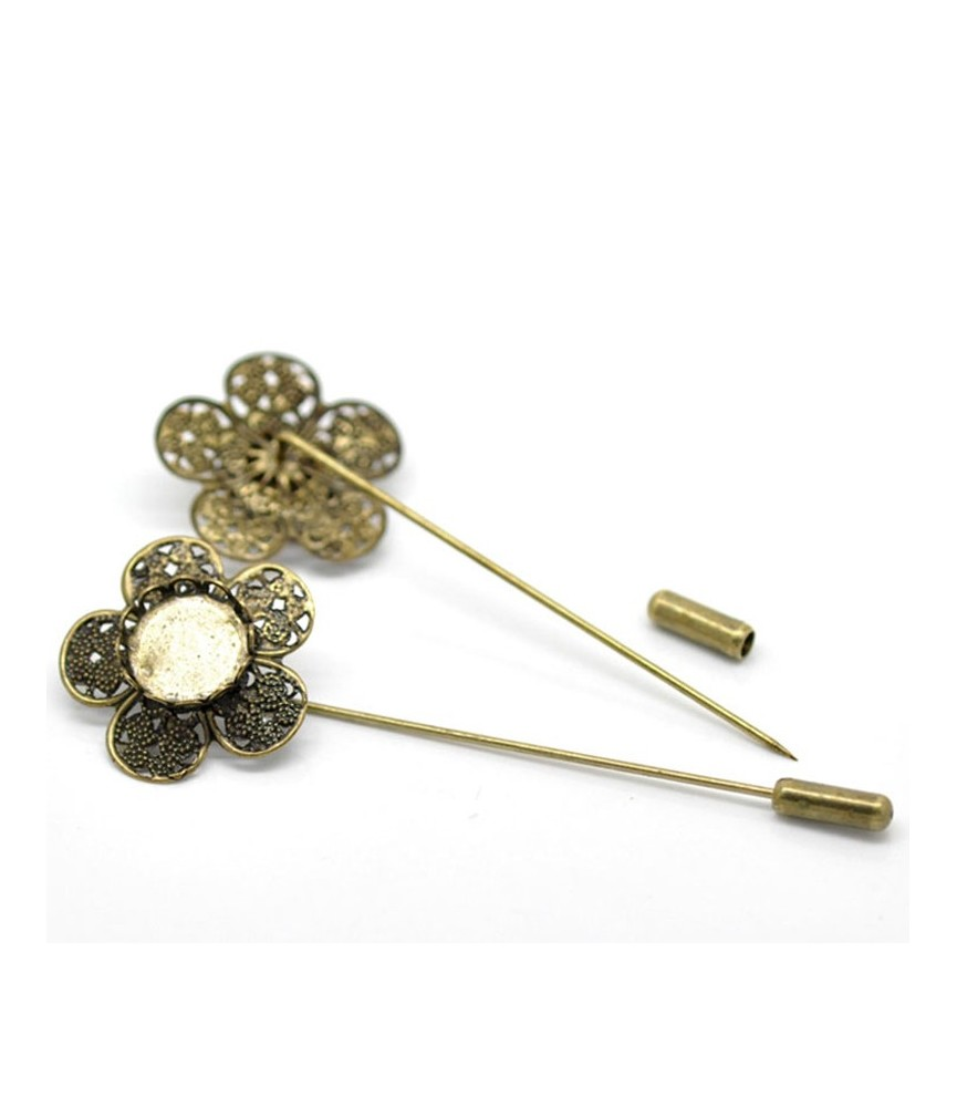 Alfiler de flor con base de 12 mm bronce