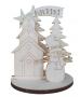Set muñeco de nieve, casa y abetos con peana