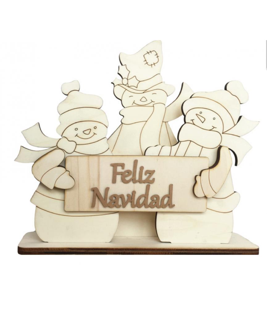 Set muñecos de nieve feliz navidad peana