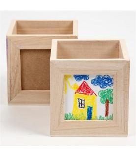 Caja de madera porta lapices con ventana
