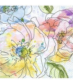 Servilleta watercolour blooms 33x33 cm
