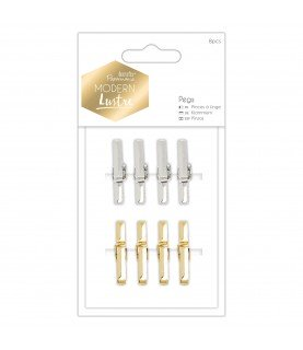 Pack 8 mini pinzas metalizadas Modern Lustre