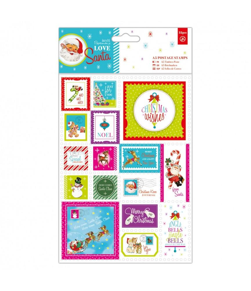 Pack 32 sellos modelo Love Santa A5