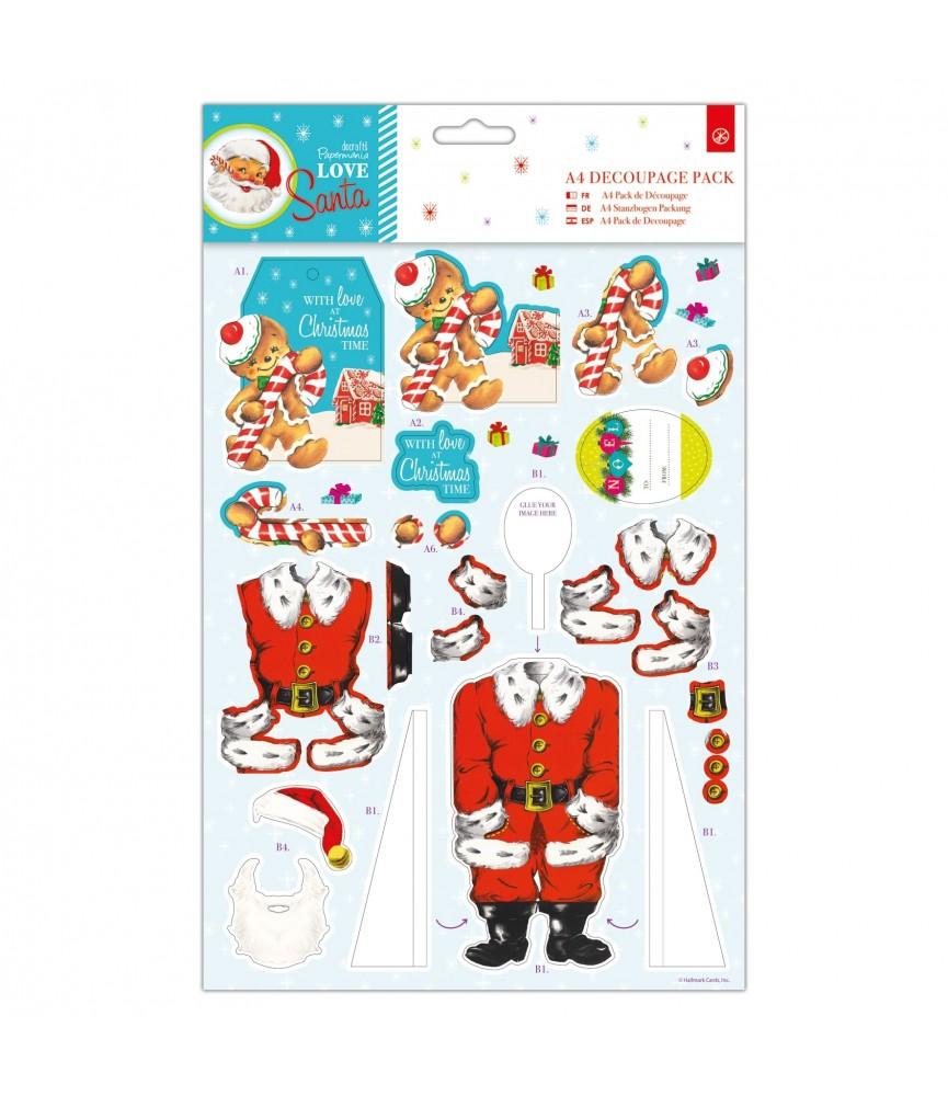 Pack A4 de papeles y troquelados Love Santa hombre gengibre