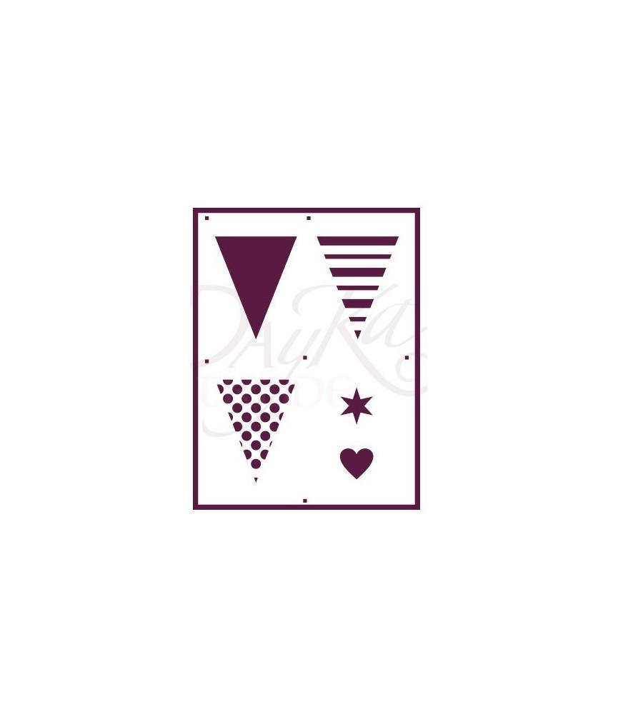 Plantilla stencil A5 banderines