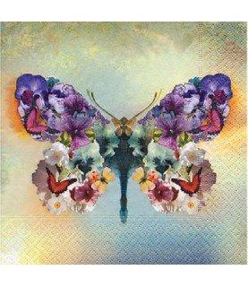 Servilleta mariposa de flores 33x33 cm