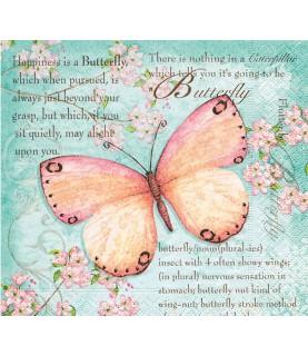 Servilleta mariposa con flores 33x33 cm