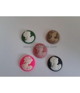 Pack 5 Cabuchones de resina mujer 20mm