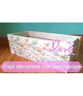 Comprar Kit caja de fruta decorada con decoupage de Conideade