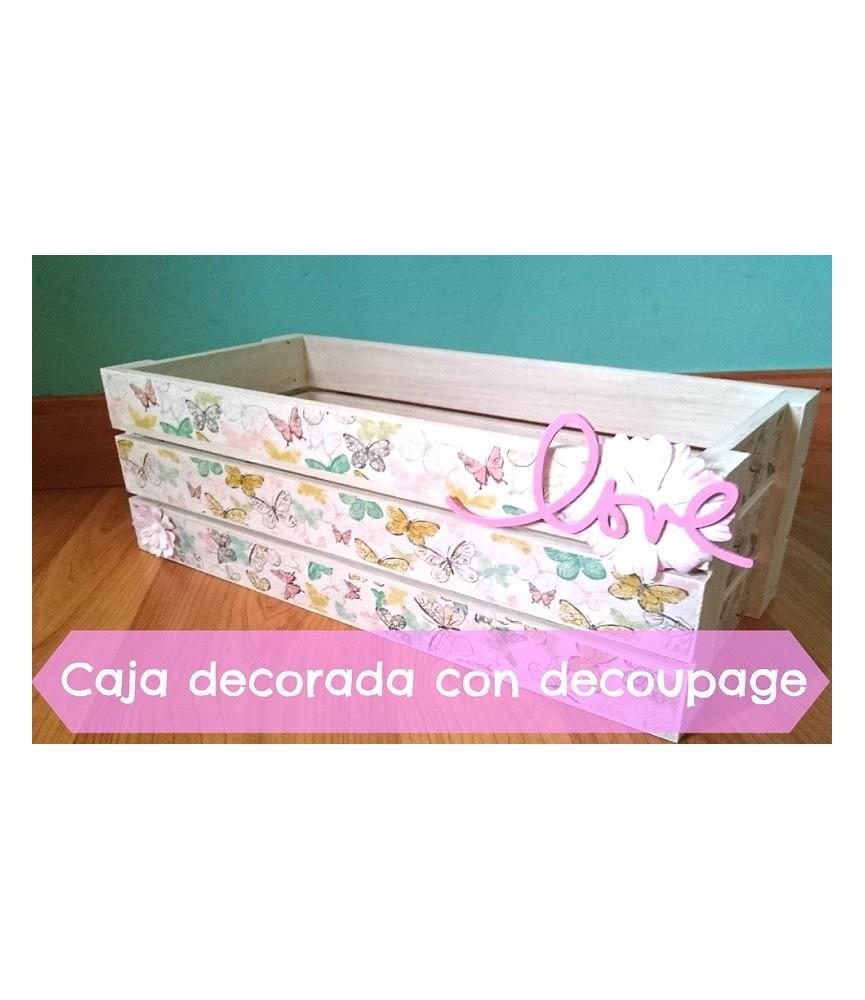 Kit caja de fruta decorada con decoupage