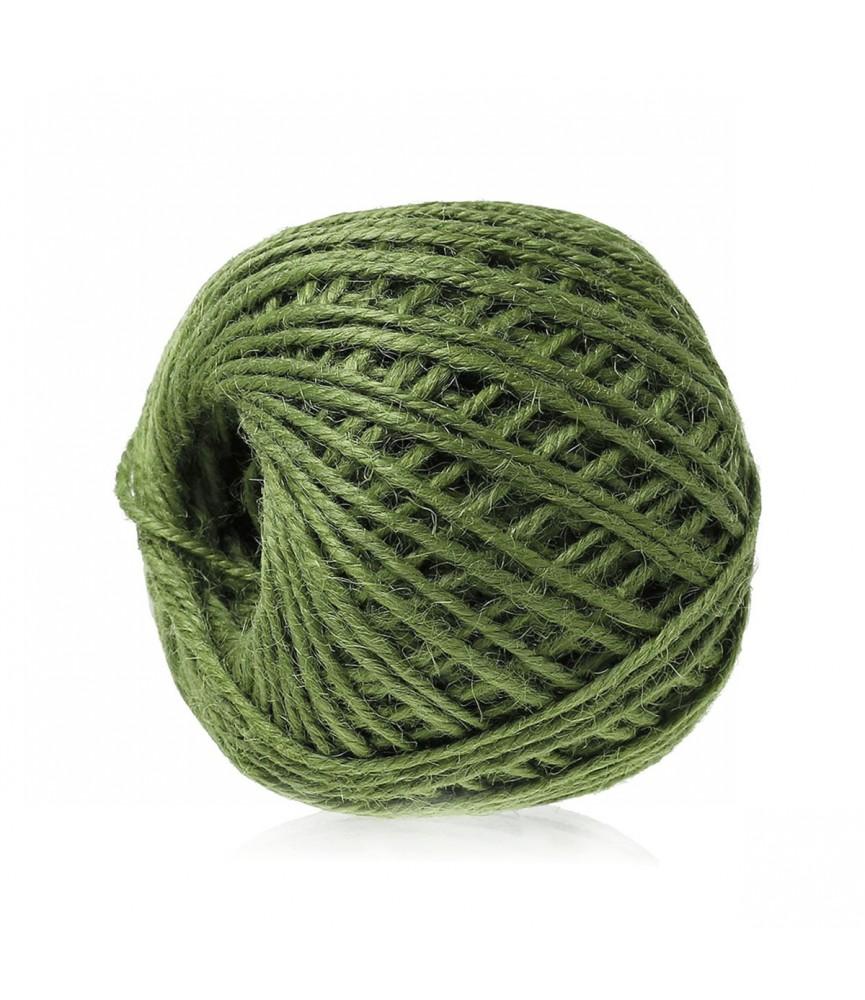 Rollo de 80 m cordon de yute colores 2 mm verde