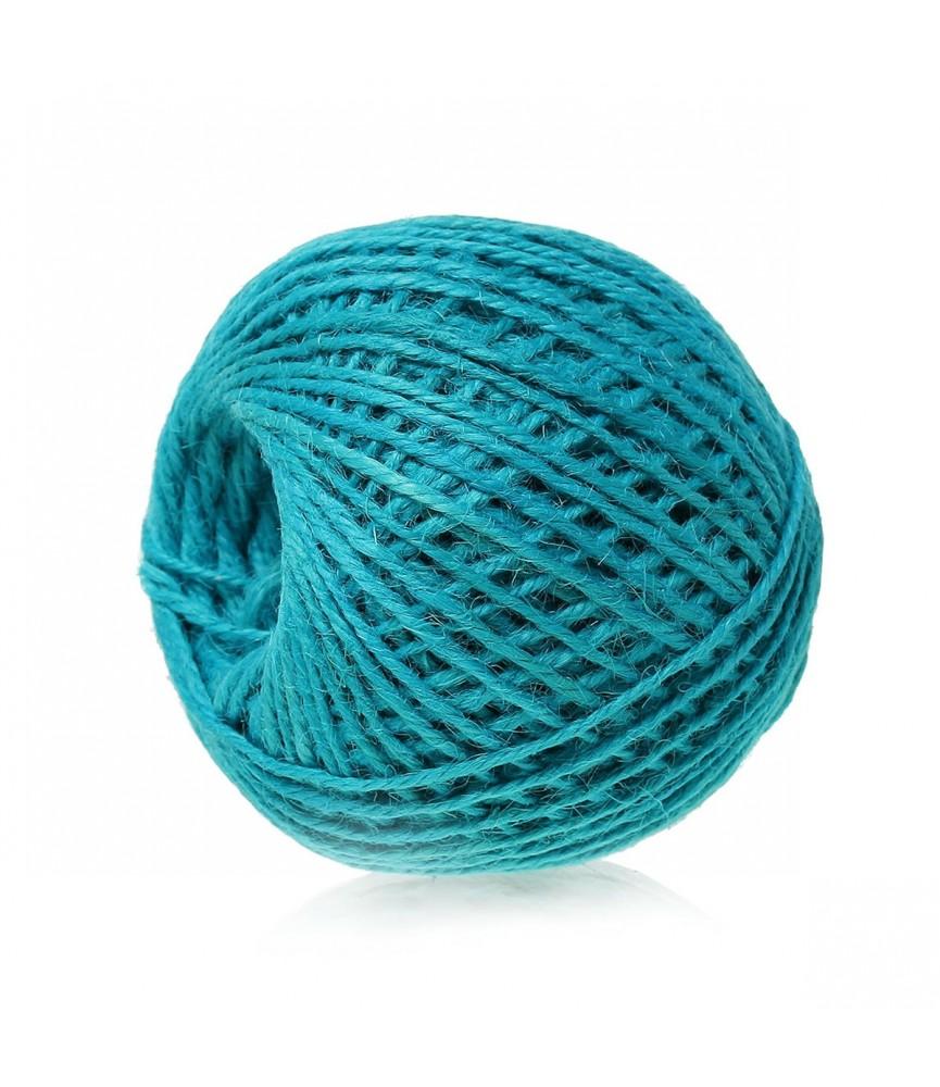 Rollo de 80 m cordon de yute colores 2 mm azul turquesa