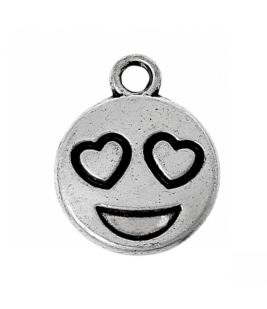charm carita enamorada plata decora con emoticonos tu bisuteria