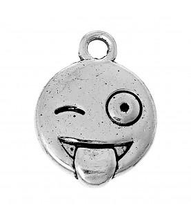 Charm emoticono lengua plata