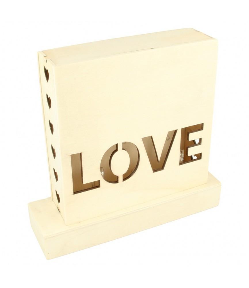 Lampara led de madera LOVE