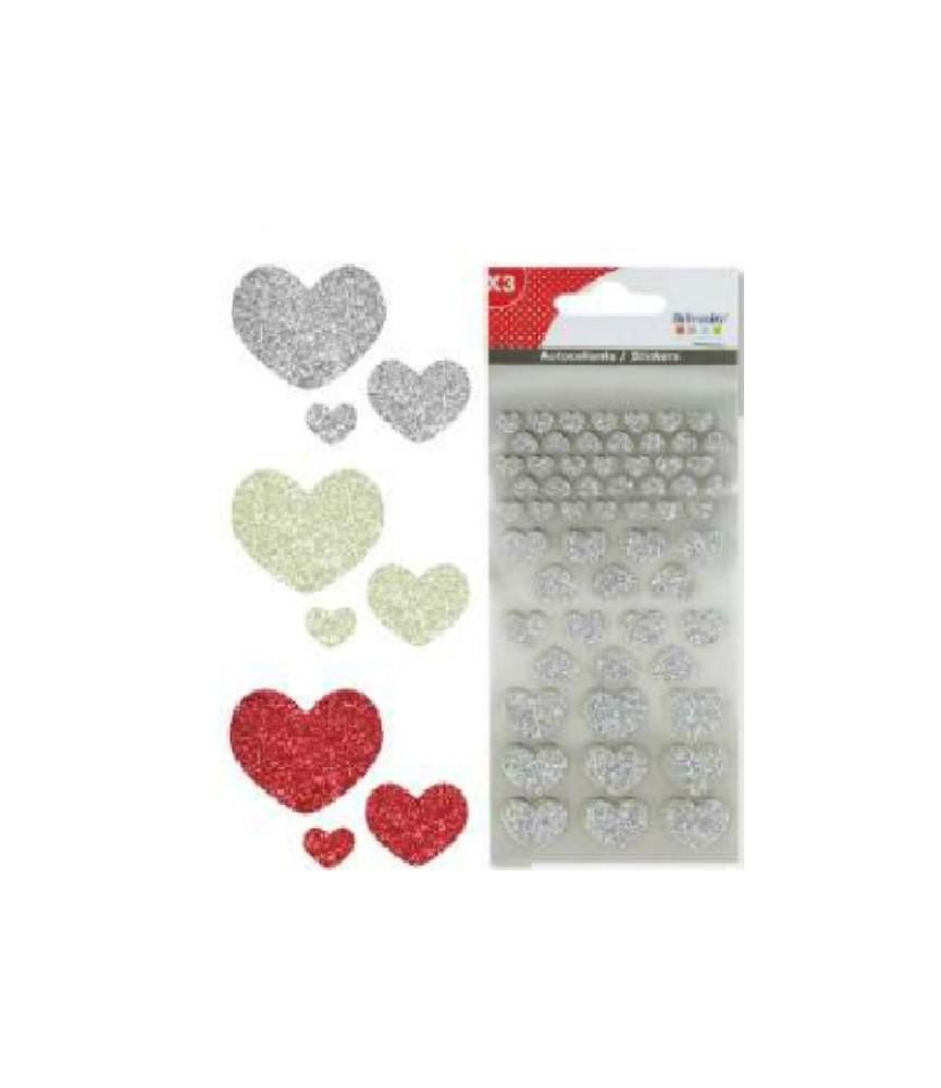 Pack 3 hojas de pegatinas de corazones glitter