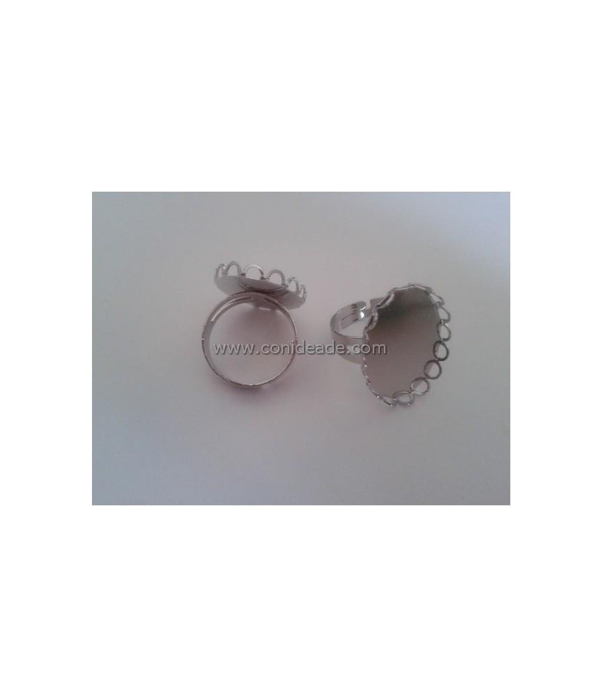 Anillo ajustable base ovalada 25x18mm plata