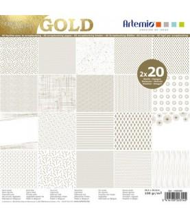 Imagén: Pack 40 hojas scrapbooking Gold 12x12