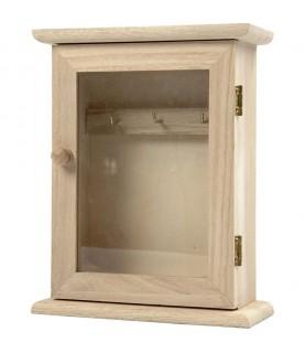Imagén: Caja de madera cuelga llaves con ventana