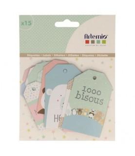 Pack 15 etiquetas colección adorable
