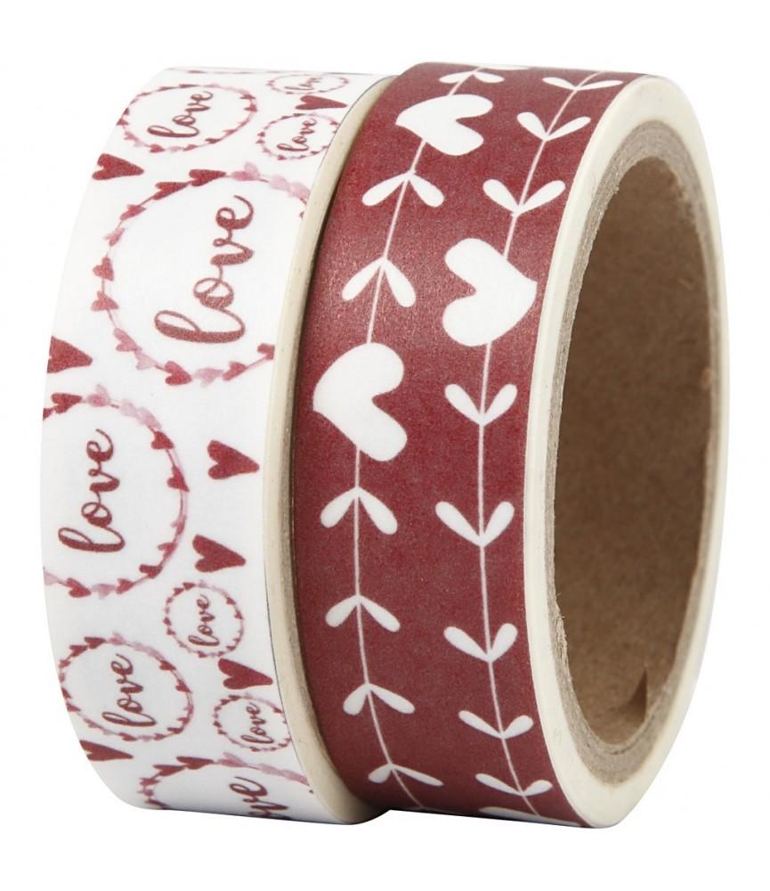 Pack 2 rollos de washi tape corazones y love