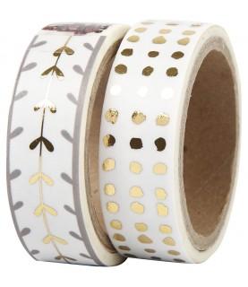 Pack 2 rollos de washi tape puntos y hojas