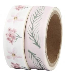 Pack 2 rollos de washi tape flores rosas