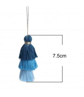 Colgante de fleco de 7,5cm tonos azules