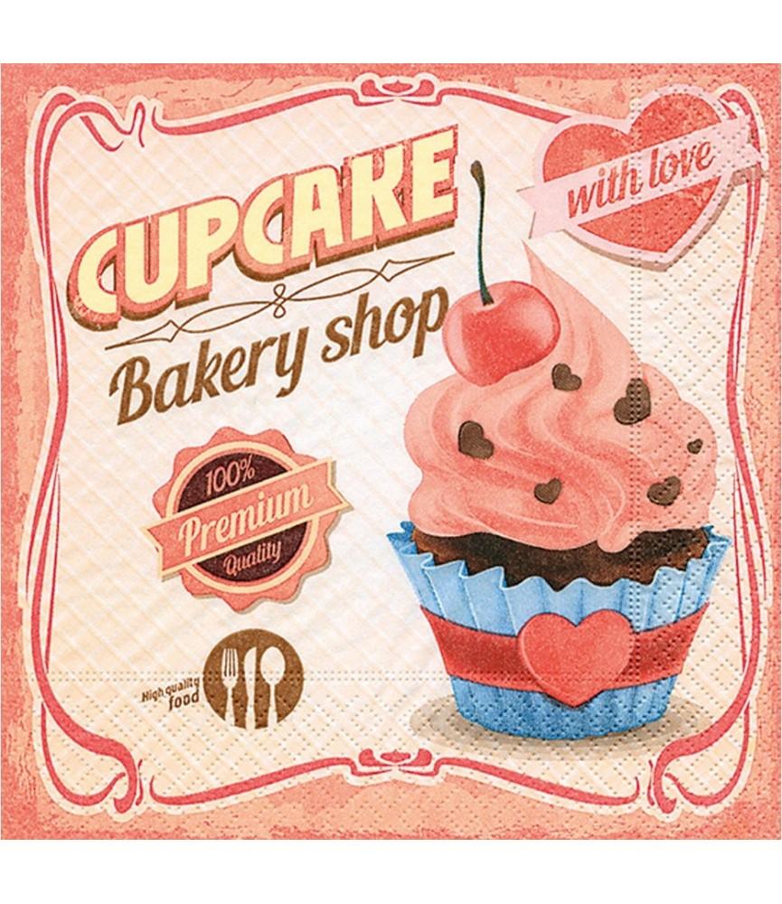 Servilleta cupcake with love 33x33 cm