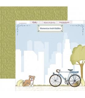 Imagén: Papel scrap comunion niño bicicleta y perro