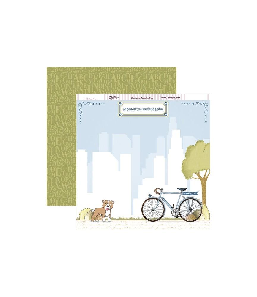 Papel scrap comunion niño bicicleta y perro